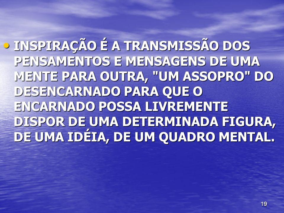 19 INSPIRAÇÃO É A TRANSMISSÃO DOS PENSAMENTOS E MENSAGENS DE UMA MENTE PARA OUTRA,