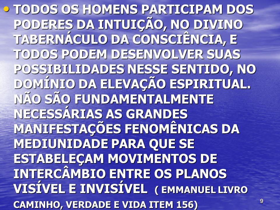 10 FACULDADE INTUIÇÃO É INSTITUIÇÃO UNIVERSAL FACULDADE INTUIÇÃO É INSTITUIÇÃO UNIVERSAL A TRANSMISSÃO DO PENSAMENTO TAMBÉM SE DÁ POR MEIO DO ESPÍRITO DO MÉDIUM, OU MELHOR, DE SUA ALMA, POIS QUE POR ESTE NOME DESIGNAMOS O ESPÍRITO ENCARNADO ( L.M.