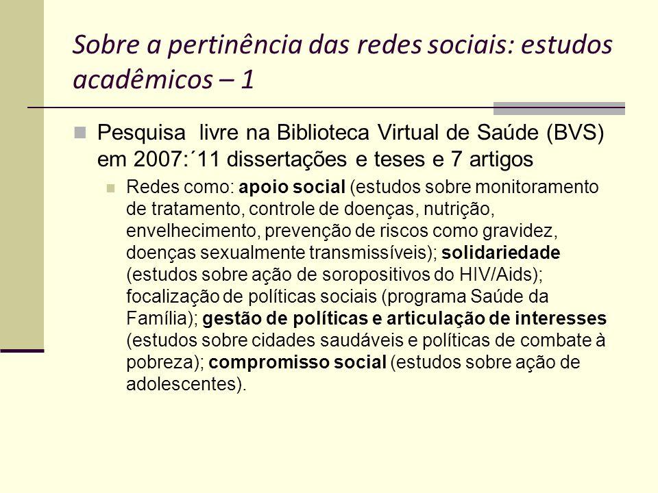 Sobre a pertinência das redes sociais: estudos acadêmicos – 1 Pesquisa livre na Biblioteca Virtual de Saúde (BVS) em 2007:´11 dissertações e teses e 7