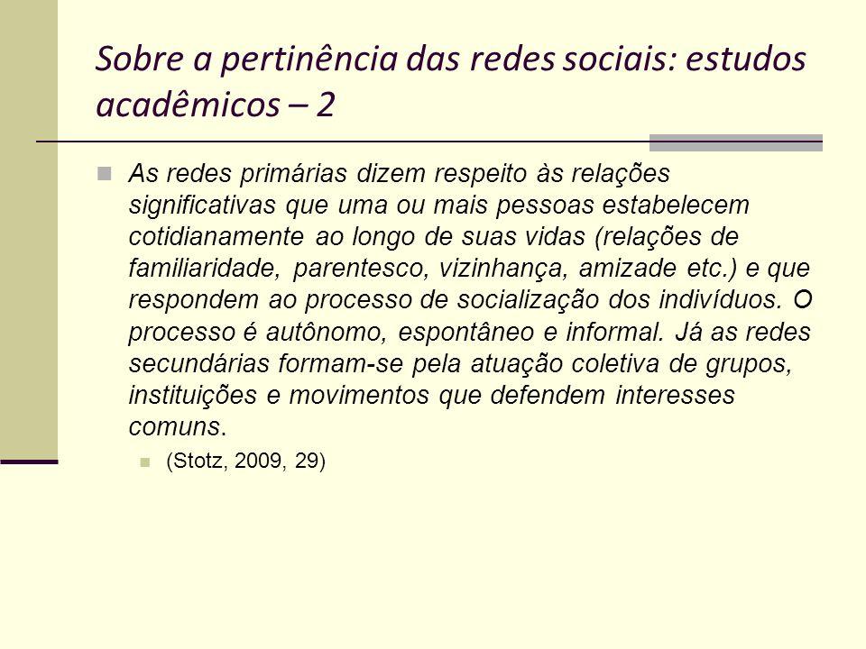 Sobre a pertinência das redes sociais: estudos acadêmicos – 2 As redes primárias dizem respeito às relações significativas que uma ou mais pessoas est