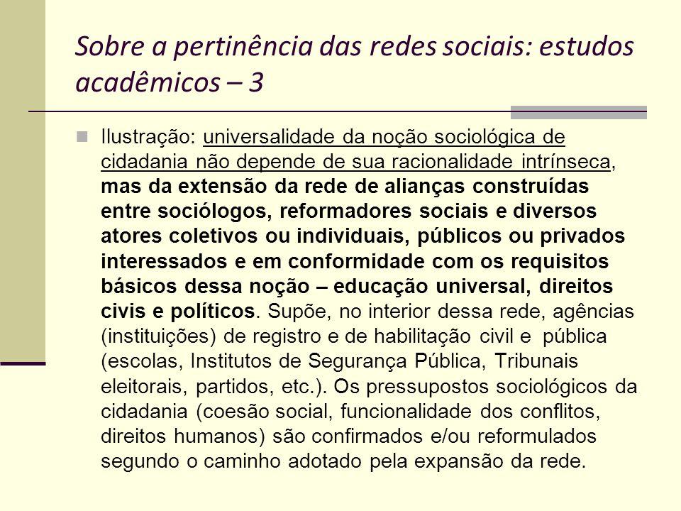 Sobre a pertinência das redes sociais: estudos acadêmicos – 3 Ilustração: universalidade da noção sociológica de cidadania não depende de sua racional