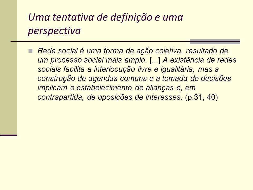 Uma tentativa de definição e uma perspectiva Rede social é uma forma de ação coletiva, resultado de um processo social mais amplo. [...] A existência