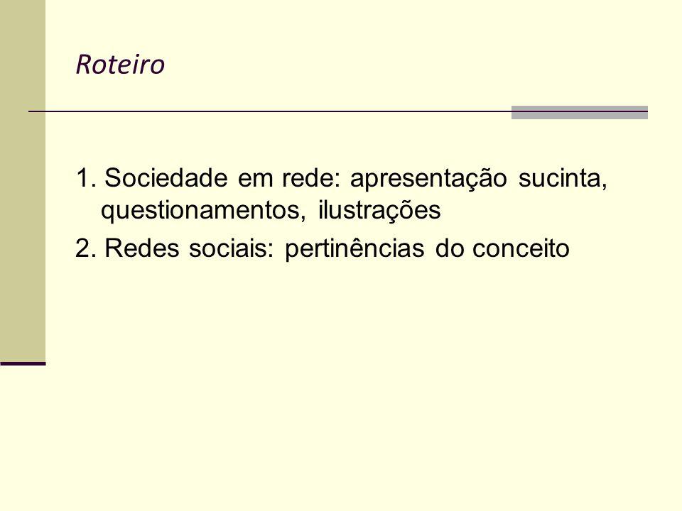 Roteiro 1. Sociedade em rede: apresentação sucinta, questionamentos, ilustrações 2. Redes sociais: pertinências do conceito