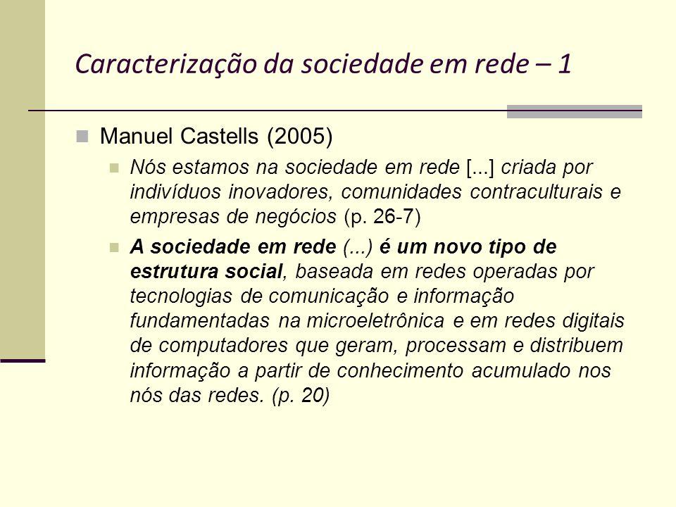 Caracterização da sociedade em rede – 1 Manuel Castells (2005) Nós estamos na sociedade em rede [...] criada por indivíduos inovadores, comunidades co