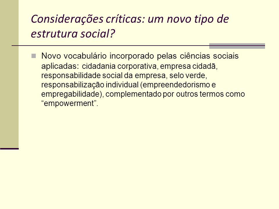 Considerações críticas: um novo tipo de estrutura social? Novo vocabulário incorporado pelas ciências sociais aplicadas: cidadania corporativa, empres