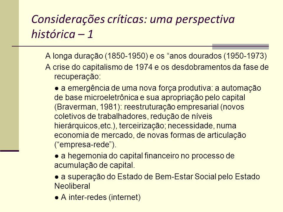 Considerações críticas: uma perspectiva histórica – 1 A longa duração (1850-1950) e os anos dourados (1950-1973) A crise do capitalismo de 1974 e os d