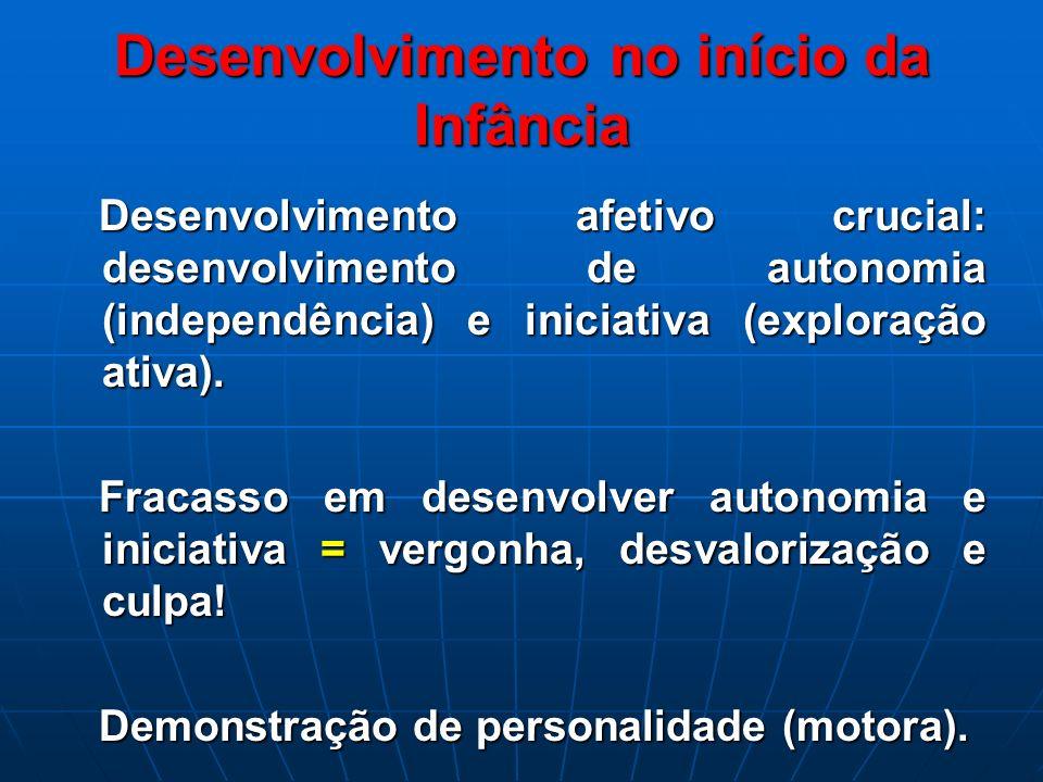 Desenvolvimento no início da Infância Desenvolvimento afetivo crucial: desenvolvimento de autonomia (independência) e iniciativa (exploração ativa). D