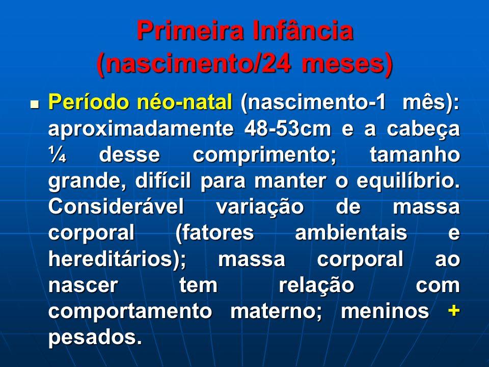Primeira Infância (nascimento/24 meses) Período néo-natal (nascimento-1 mês): aproximadamente 48-53cm e a cabeça ¼ desse comprimento; tamanho grande,
