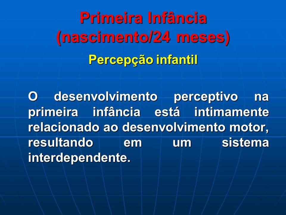 Primeira Infância (nascimento/24 meses) Percepção infantil O desenvolvimento perceptivo na primeira infância está intimamente relacionado ao desenvolv