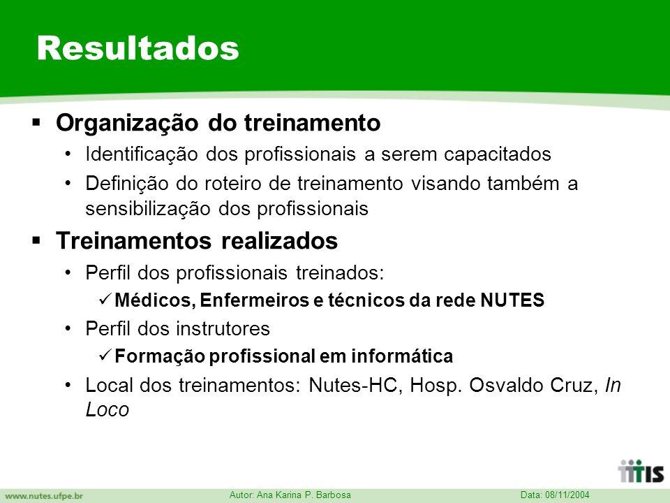 Data: 08/11/2004 Autor: Ana Karina P. Barbosa Resultados Organização do treinamento Identificação dos profissionais a serem capacitados Definição do r