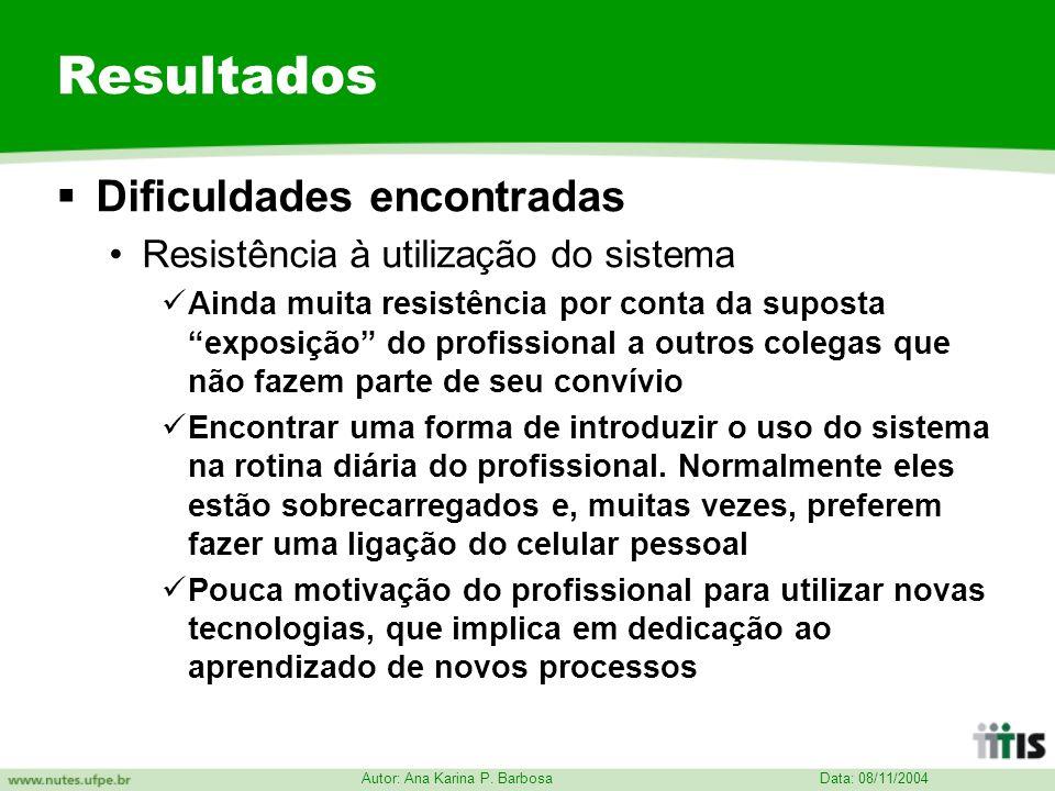 Data: 08/11/2004 Autor: Ana Karina P. Barbosa Resultados Dificuldades encontradas Resistência à utilização do sistema Ainda muita resistência por cont