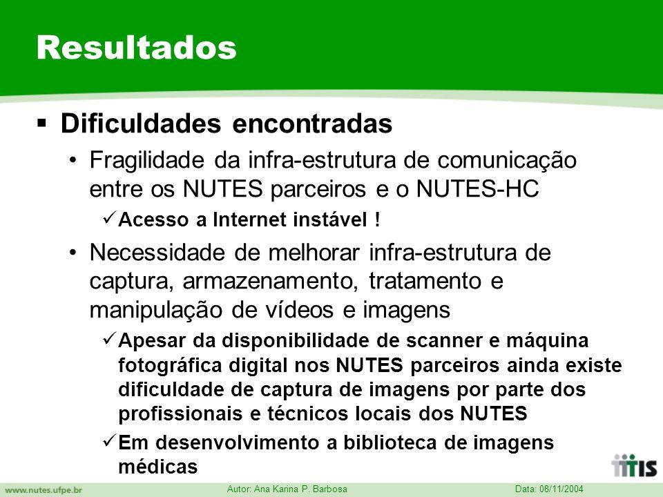 Data: 08/11/2004 Autor: Ana Karina P. Barbosa Resultados Dificuldades encontradas Fragilidade da infra-estrutura de comunicação entre os NUTES parceir