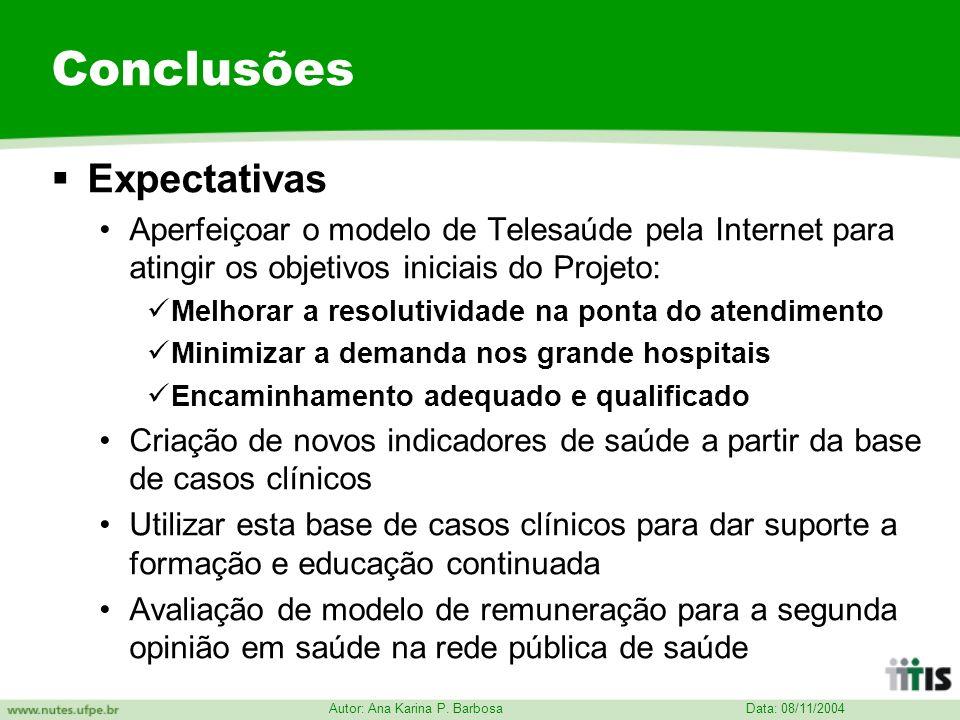Data: 08/11/2004 Autor: Ana Karina P. Barbosa Conclusões Expectativas Aperfeiçoar o modelo de Telesaúde pela Internet para atingir os objetivos inicia