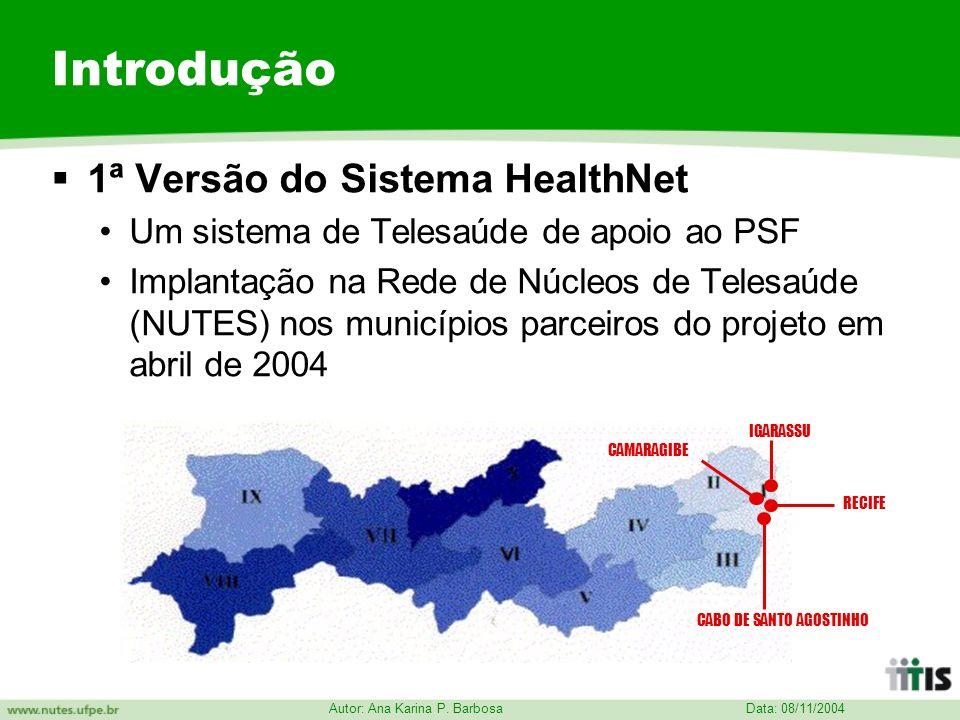 Data: 08/11/2004 Autor: Ana Karina P. Barbosa Introdução 1ª Versão do Sistema HealthNet Um sistema de Telesaúde de apoio ao PSF Implantação na Rede de