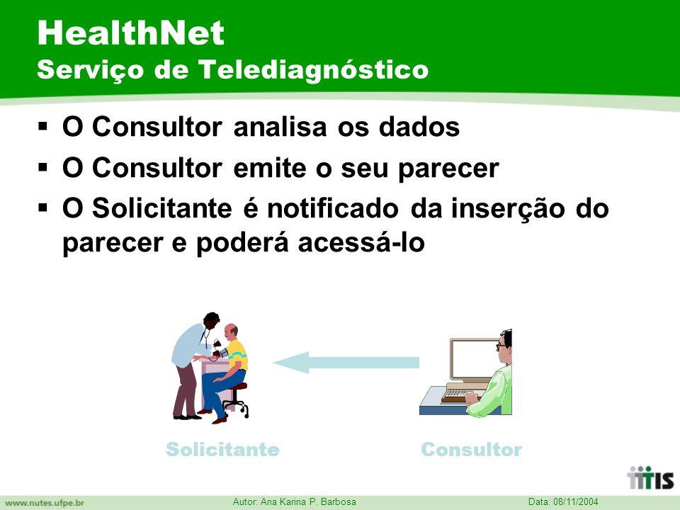 Data: 08/11/2004 Autor: Ana Karina P. Barbosa HealthNet Serviço de Telediagnóstico O Consultor analisa os dados O Consultor emite o seu parecer O Soli