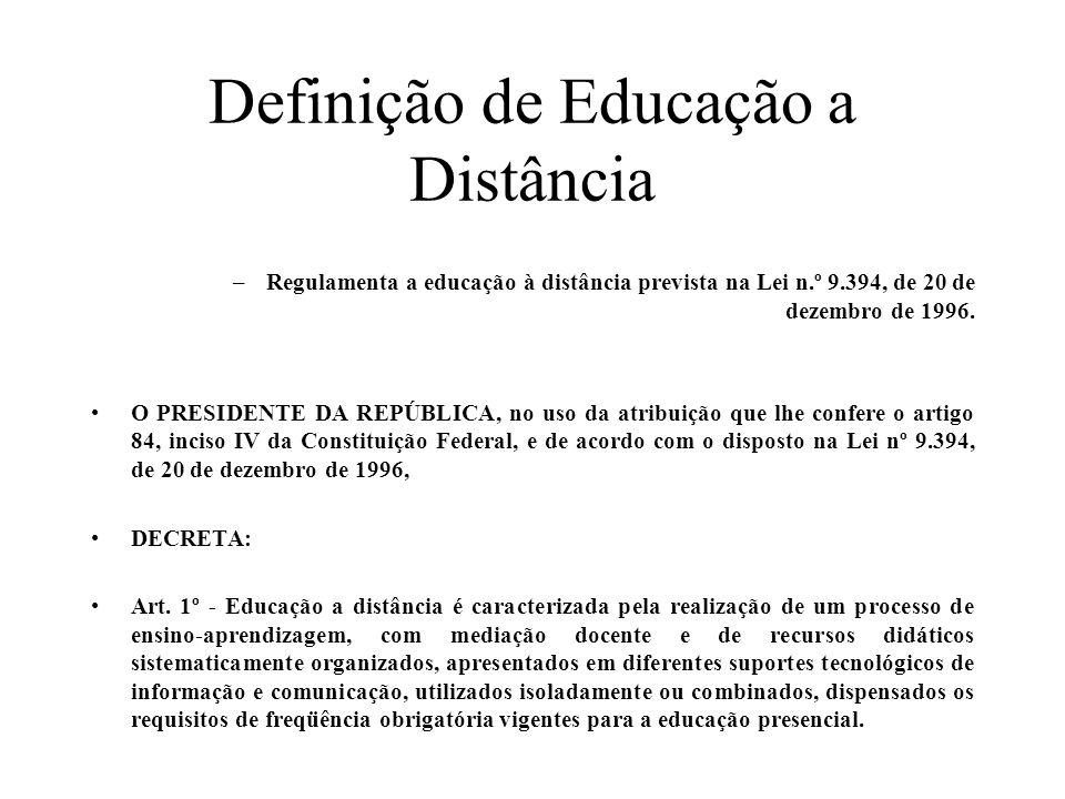 Definição de Educação a Distância –Regulamenta a educação à distância prevista na Lei n.º 9.394, de 20 de dezembro de 1996. O PRESIDENTE DA REPÚBLICA,