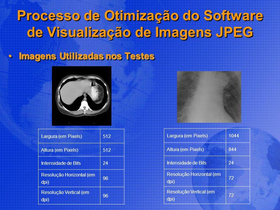 Processo de Otimização do Software de Visualização de Imagens JPEG Imagens Utilizadas nos TestesImagens Utilizadas nos Testes Largura (em Pixels)512 A