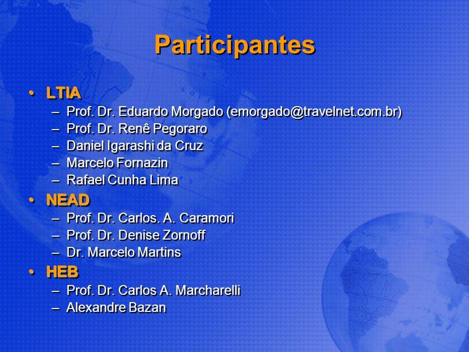 Participantes LTIALTIA –Prof. Dr. Eduardo Morgado (emorgado@travelnet.com.br) –Prof. Dr. Renê Pegoraro –Daniel Igarashi da Cruz –Marcelo Fornazin –Raf
