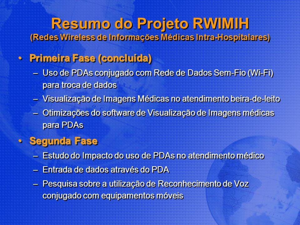 Resumo do Projeto RWIMIH (Redes Wireless de Informações Médicas Intra-Hospitalares) Primeira Fase (concluída)Primeira Fase (concluída) –Uso de PDAs co