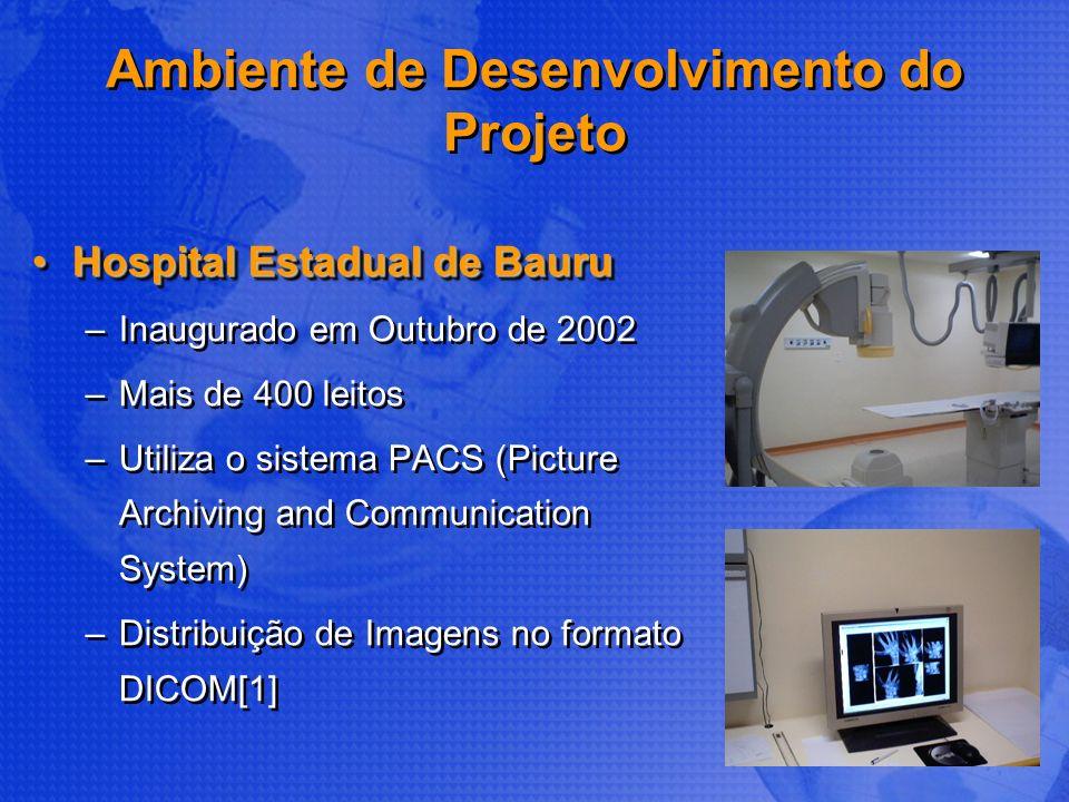 Ambiente de Desenvolvimento do Projeto Hospital Estadual de BauruHospital Estadual de Bauru –Inaugurado em Outubro de 2002 –Mais de 400 leitos –Utiliz