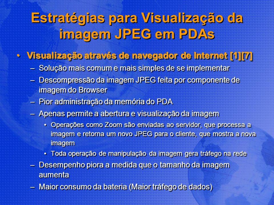 Estratégias para Visualização da imagem JPEG em PDAs Visualização através de navegador de Internet [1][7]Visualização através de navegador de Internet