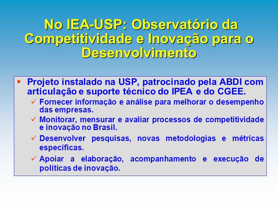 No IEA-USP: Observatório da Competitividade e Inovação para o Desenvolvimento No IEA-USP: Observatório da Competitividade e Inovação para o Desenvolvi