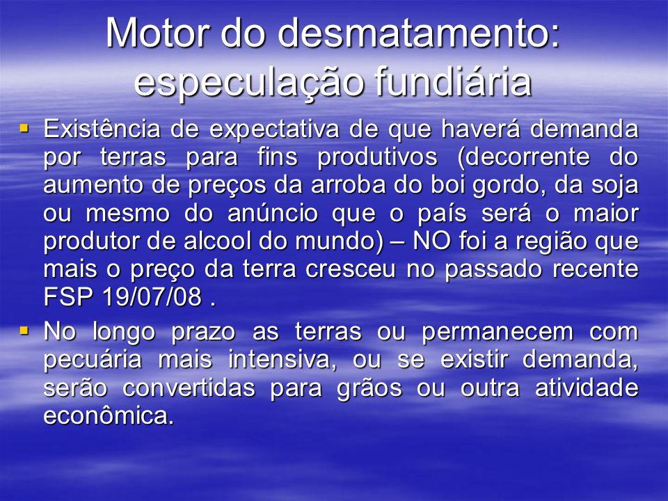 Motor do desmatamento: especulação fundiária Existência de expectativa de que haverá demanda por terras para fins produtivos (decorrente do aumento de