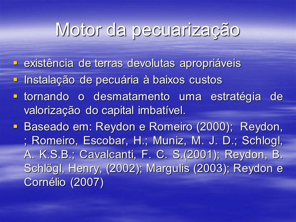 Motor da pecuarização existência de terras devolutas apropriáveis existência de terras devolutas apropriáveis Instalação de pecuária à baixos custos I