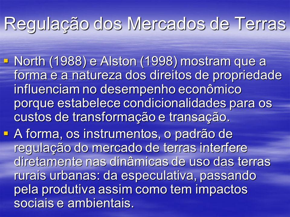 Regulação dos Mercados de Terras North (1988) e Alston (1998) mostram que a forma e a natureza dos direitos de propriedade influenciam no desempenho e