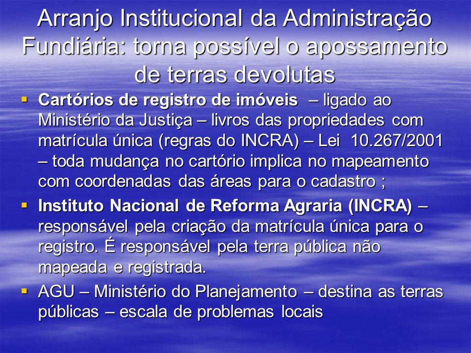 Arranjo Institucional da Administração Fundiária: torna possível o apossamento de terras devolutas Cartórios de registro de imóveis – ligado ao Minist