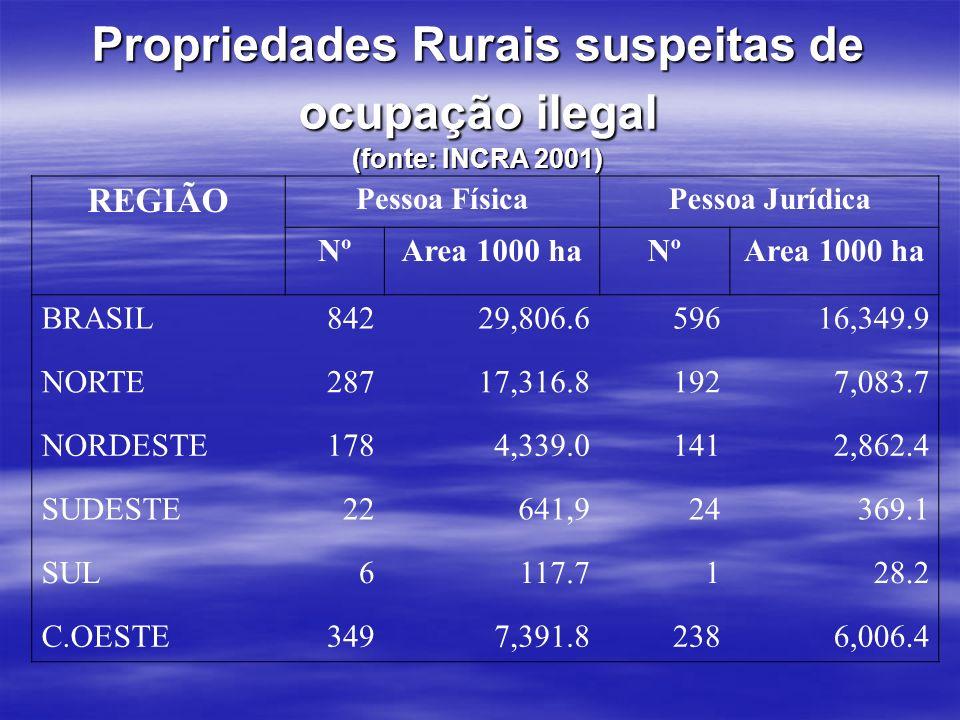 Propriedades Rurais suspeitas de ocupação ilegal (fonte: INCRA 2001) REGIÃO Pessoa FísicaPessoa Jurídica NºArea 1000 haNºArea 1000 ha BRASIL84229,806.