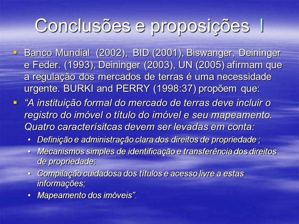 Conclusões e proposições I Banco Mundial (2002), BID (2001), Biswanger, Deininger e Feder. (1993), Deininger (2003), UN (2005) afirmam que a regulação