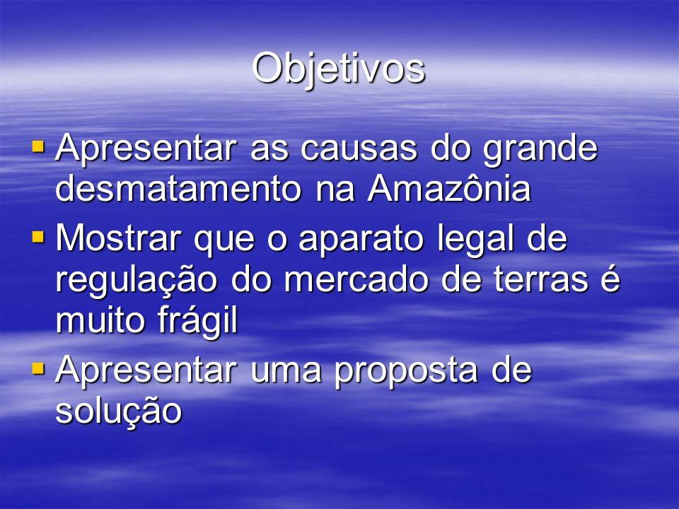 Objetivos Apresentar as causas do grande desmatamento na Amazônia Apresentar as causas do grande desmatamento na Amazônia Mostrar que o aparato legal