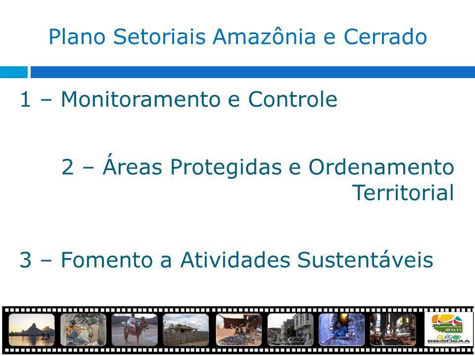 23 Plano Setoriais Amazônia e Cerrado 1 – Monitoramento e Controle 2 – Áreas Protegidas e Ordenamento Territorial 3 – Fomento a Atividades Sustentávei