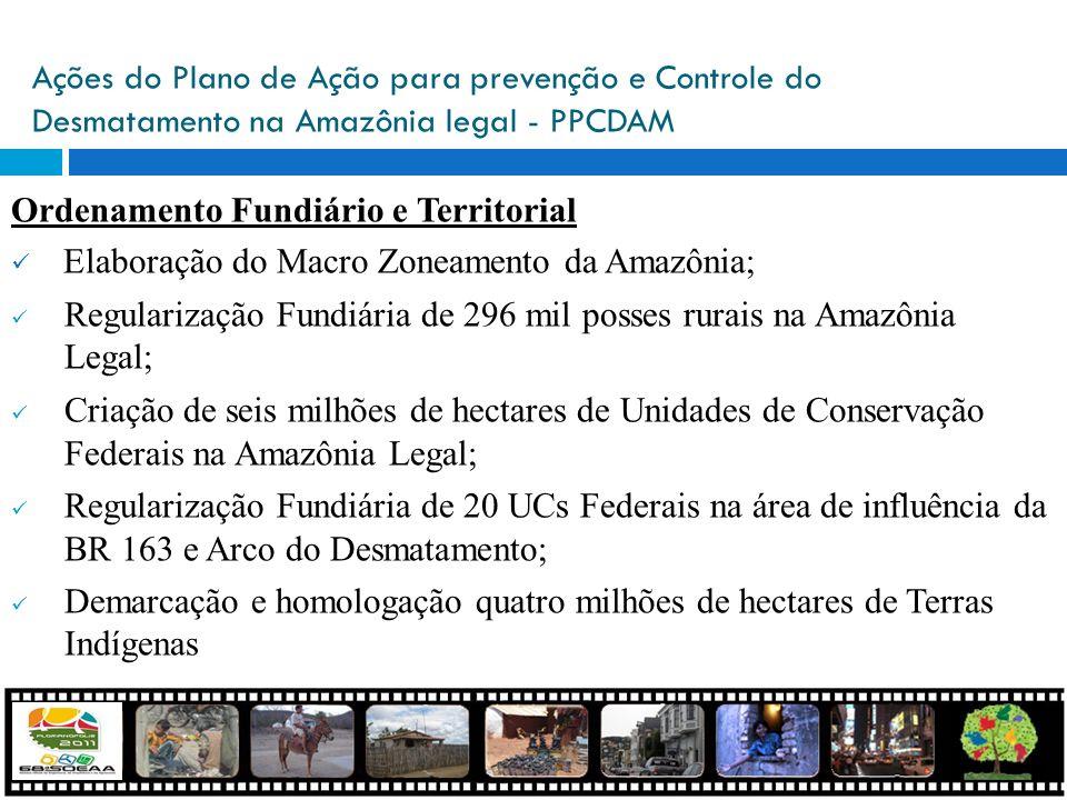 Ações do Plano de Ação para prevenção e Controle do Desmatamento na Amazônia legal - PPCDAM Ordenamento Fundiário e Territorial Elaboração do Macro Zo