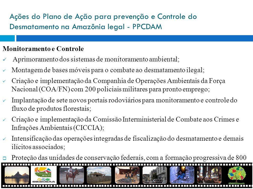 Ações do Plano de Ação para prevenção e Controle do Desmatamento na Amazônia legal - PPCDAM Monitoramento e Controle Aprimoramento dos sistemas de mon