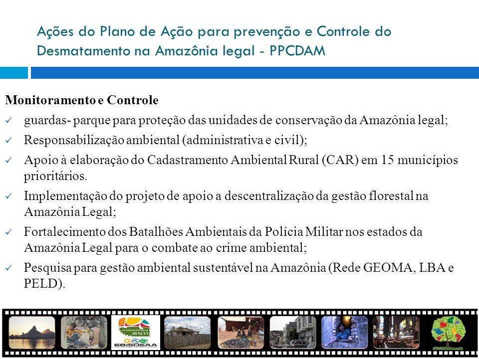 Ações do Plano de Ação para prevenção e Controle do Desmatamento na Amazônia legal - PPCDAM Monitoramento e Controle guardas- parque para proteção das