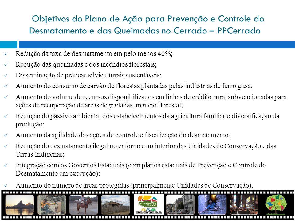 Objetivos do Plano de Ação para Prevenção e Controle do Desmatamento e das Queimadas no Cerrado – PPCerrado Redução da taxa de desmatamento em pelo me
