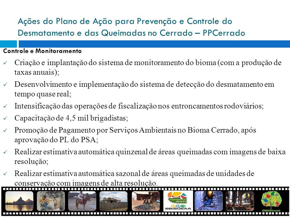 Ações do Plano de Ação para Prevenção e Controle do Desmatamento e das Queimadas no Cerrado – PPCerrado Controle e Monitoramento Criação e implantação