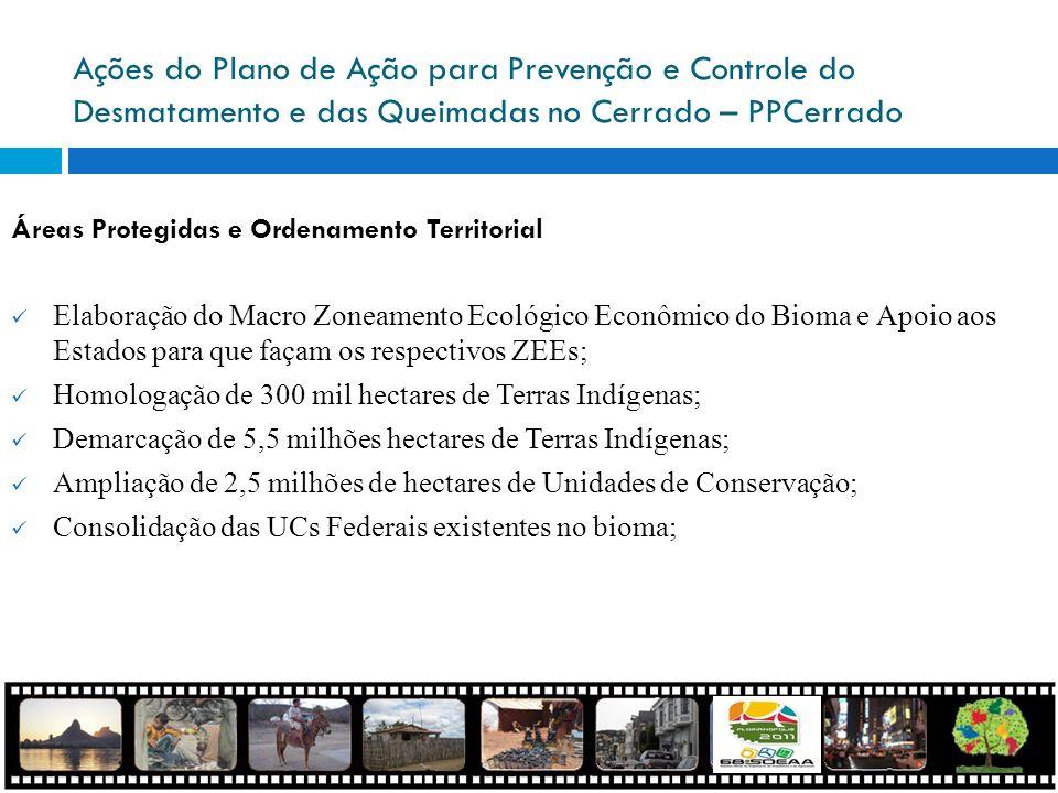 Ações do Plano de Ação para Prevenção e Controle do Desmatamento e das Queimadas no Cerrado – PPCerrado Áreas Protegidas e Ordenamento Territorial Ela