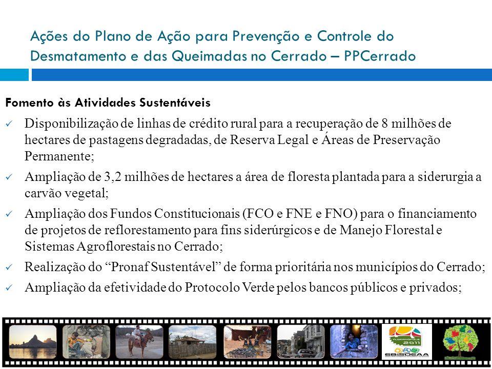 Ações do Plano de Ação para Prevenção e Controle do Desmatamento e das Queimadas no Cerrado – PPCerrado Fomento às Atividades Sustentáveis Disponibili