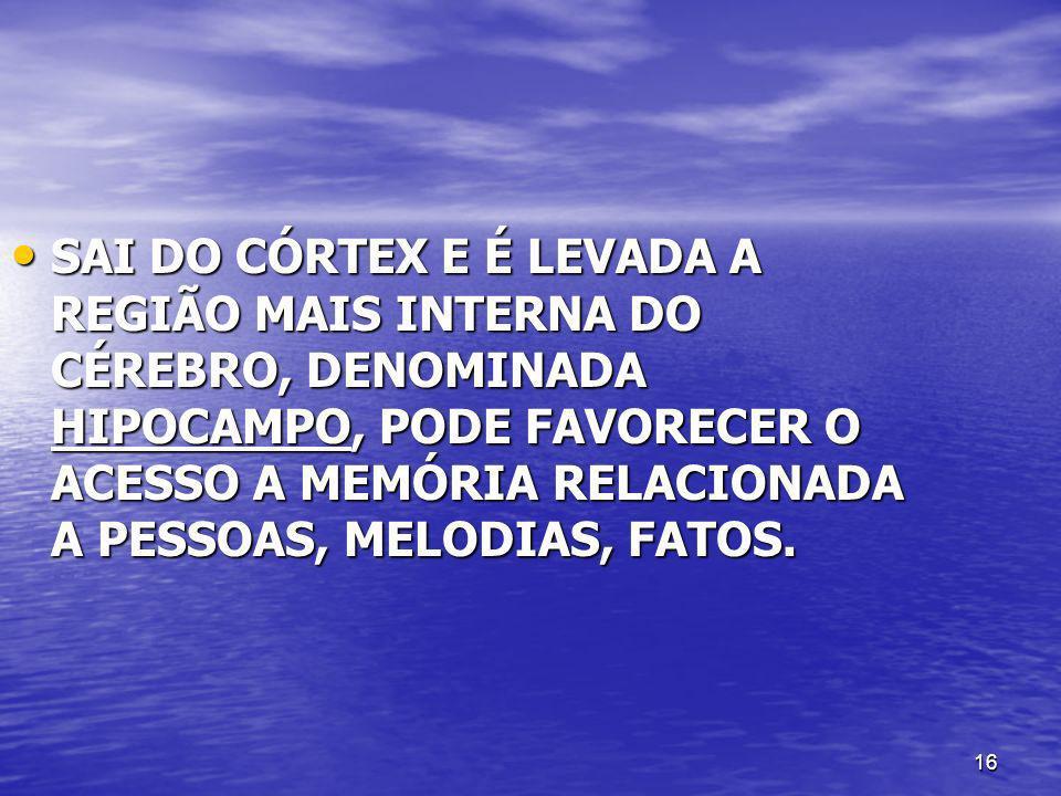 16 SAI DO CÓRTEX E É LEVADA A REGIÃO MAIS INTERNA DO CÉREBRO, DENOMINADA HIPOCAMPO, PODE FAVORECER O ACESSO A MEMÓRIA RELACIONADA A PESSOAS, MELODIAS,