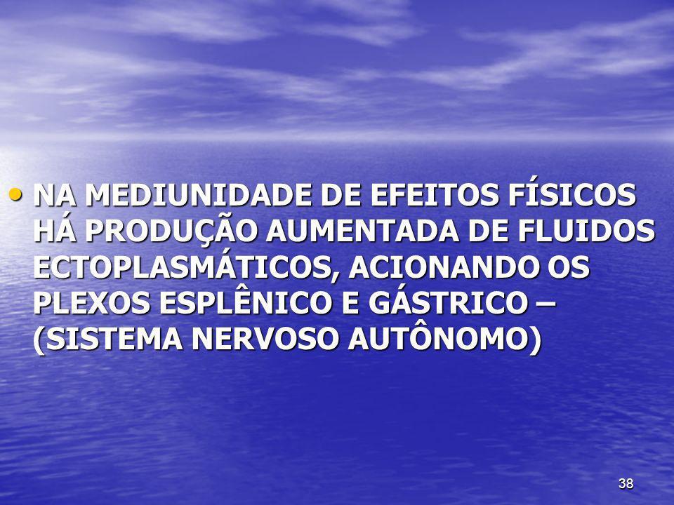 38 NA MEDIUNIDADE DE EFEITOS FÍSICOS HÁ PRODUÇÃO AUMENTADA DE FLUIDOS ECTOPLASMÁTICOS, ACIONANDO OS PLEXOS ESPLÊNICO E GÁSTRICO – (SISTEMA NERVOSO AUT