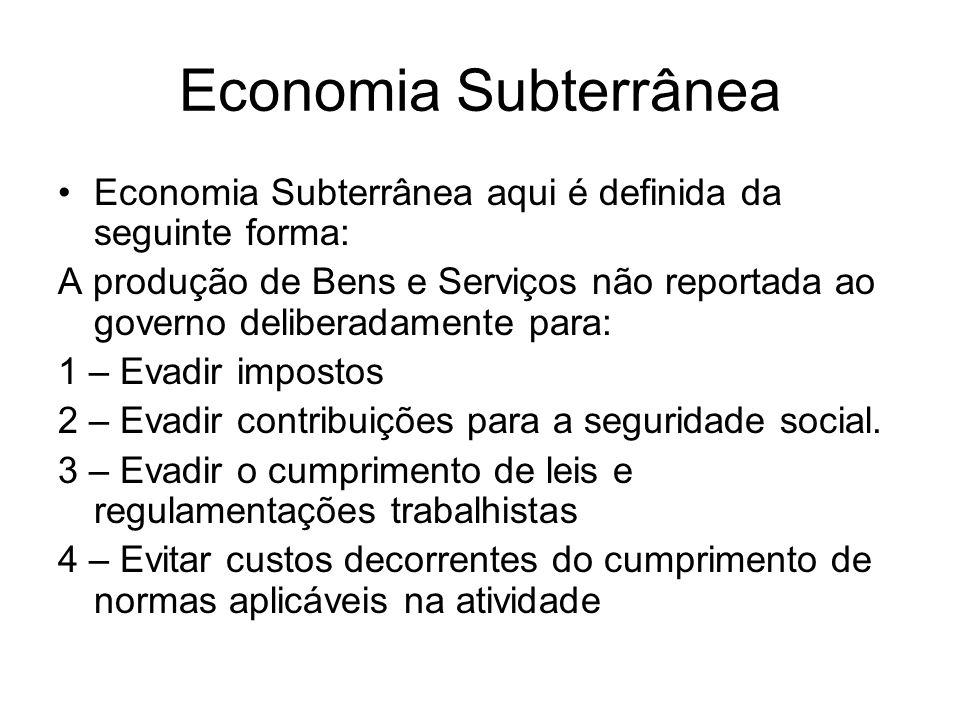 Economia Subterrânea Economia Subterrânea aqui é definida da seguinte forma: A produção de Bens e Serviços não reportada ao governo deliberadamente pa