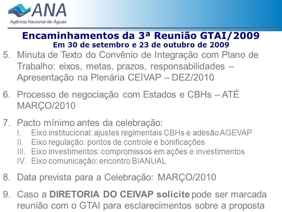 Encaminhamentos da 3ª Reunião GTAI/2009 Em 30 de setembro e 23 de outubro de 2009 5.Minuta de Texto do Convênio de Integração com Plano de Trabalho: e