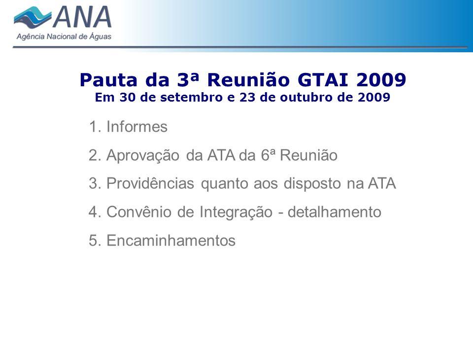 Pauta da 3ª Reunião GTAI 2009 Em 30 de setembro e 23 de outubro de 2009 1.Informes 2.Aprovação da ATA da 6ª Reunião 3.Providências quanto aos disposto