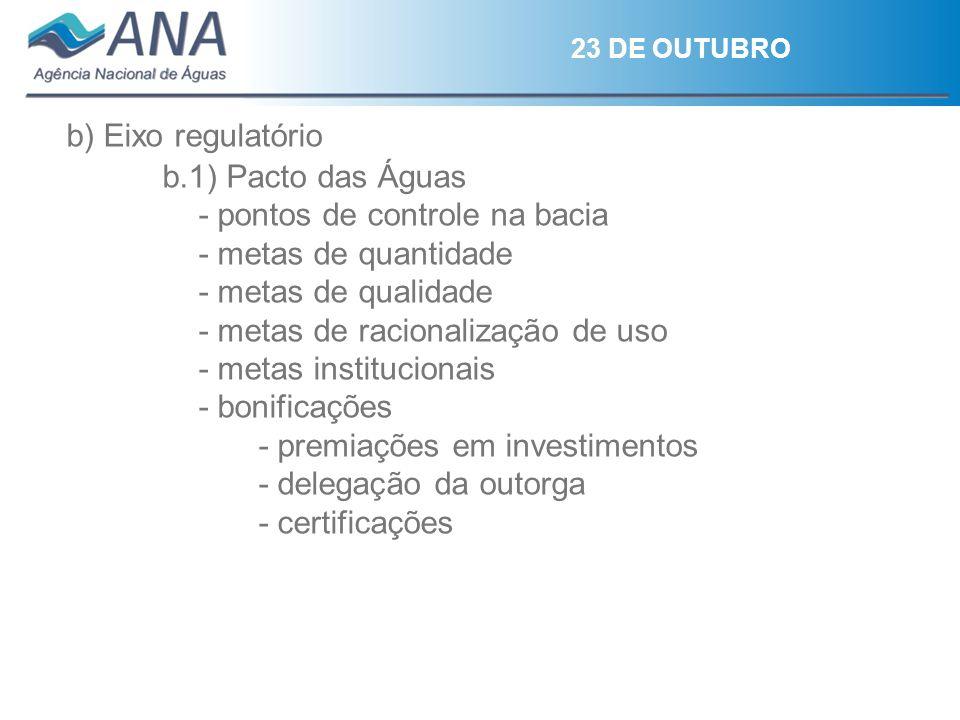23 DE OUTUBRO b) Eixo regulatório b.1) Pacto das Águas - pontos de controle na bacia - metas de quantidade - metas de qualidade - metas de racionaliza