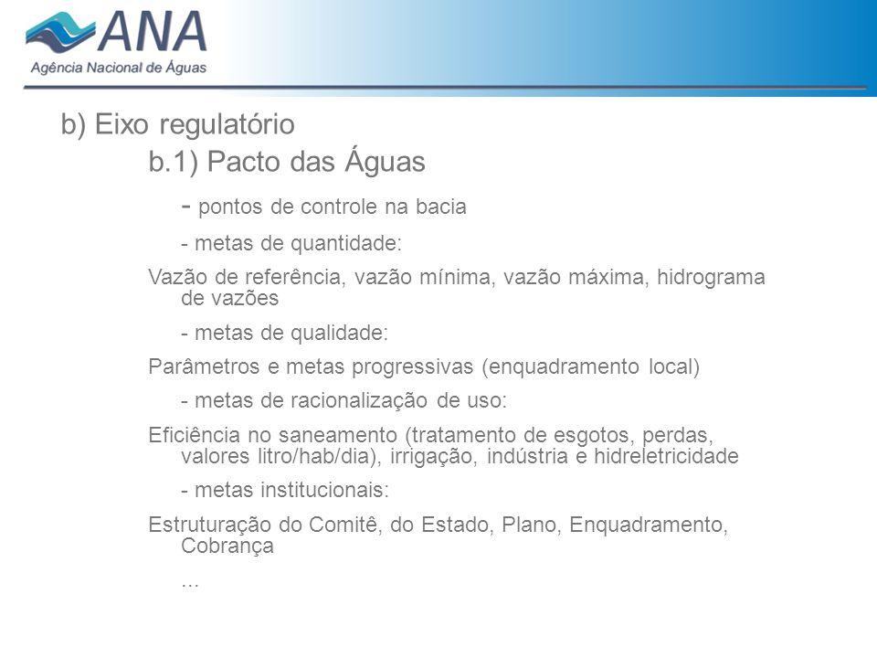 b) Eixo regulatório b.1) Pacto das Águas - pontos de controle na bacia - metas de quantidade: Vazão de referência, vazão mínima, vazão máxima, hidrogr