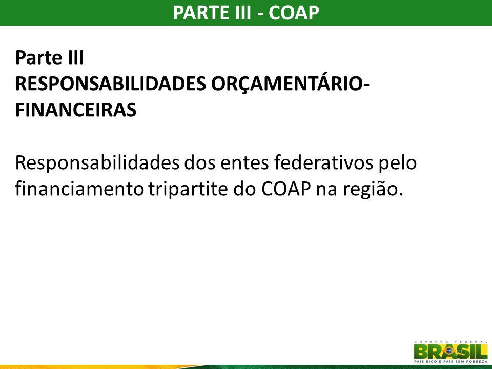 PARTE IV - RESPONSABILIDADES PELO MONITORAMENTO, AVALIAÇÃO E AUDITORIA Responsabilidades dos entes federativos pelo acompanhamento da execução do COAP, o monitoramento, a avaliação de desempenho e a auditoria: A avaliação de desempenho do contrato deverá observar padrão nacional, considerando: Índice de desempenho do SUS (IDSUS); As Metas do contrato.