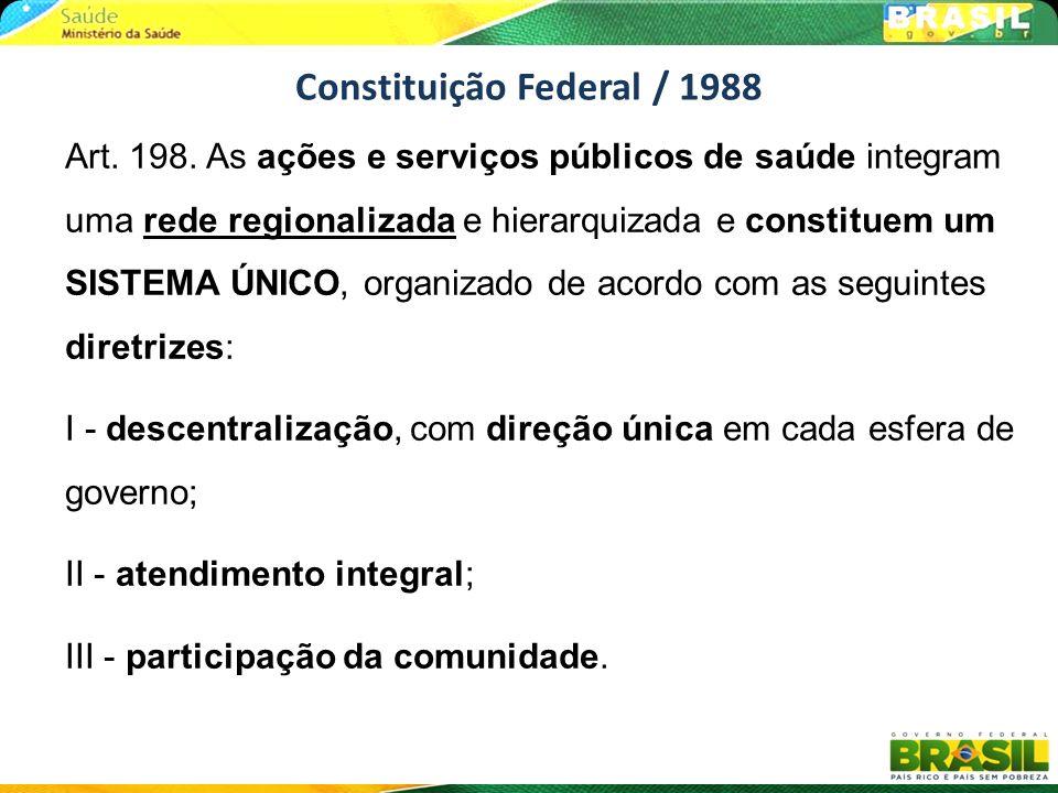 Art. 198. As ações e serviços públicos de saúde integram uma rede regionalizada e hierarquizada e constituem um SISTEMA ÚNICO, organizado de acordo co